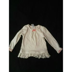 ❤Wonderkids 3T White Pink Bow Ruffle Lace Top